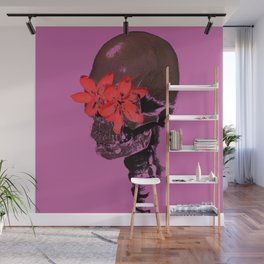 Skull with Flower Eyes Wall Mural