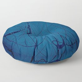 Navy Blue - Jackson Pollock Style Art - Abstract - Expressionism - Modern Floor Pillow