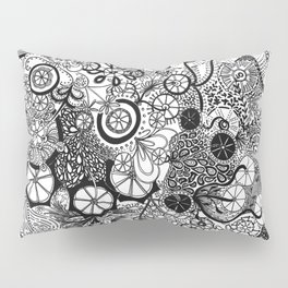 Growth in 3 Directions - Black and White Pillow Sham