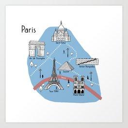 Mapping Paris - Original Art Print