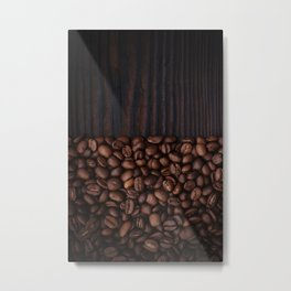 Coffee beans on dark wood background Metal Print