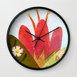 Giant red flower Wall Clock