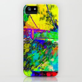 Golden Gate bridge, San Francisco, USA with colorful painting abstract background iPhone Case