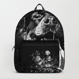 rottweiler dog long tongue wsbw Backpack