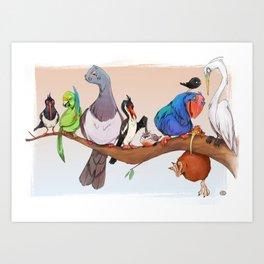 New Zealand Endangered Birdies Art Print