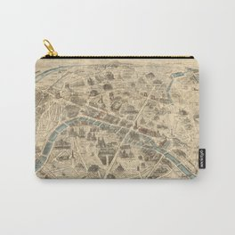Vintage Pictorial Map of Paris France (1871) Carry-All Pouch