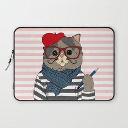 French Cat Laptop Sleeve