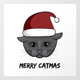 Merry Catmas Christmas Art Print
