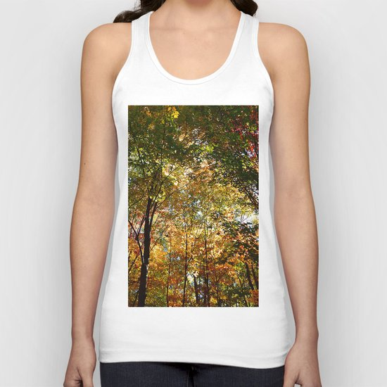 Through the Trees in October Unisex Tank Top