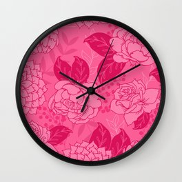 Pink and Magenta Floral Pattern Wall Clock