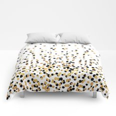 Floating Dots - Black and Gold on White Comforters