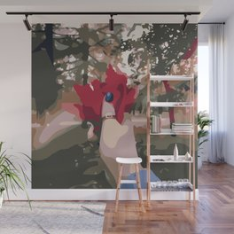Autumn red leaves bouquet in hand with a ring Wall Mural