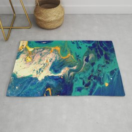 blue and gold Rug