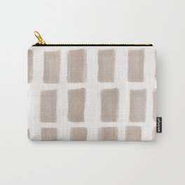 Brush Strokes Vertical Lines Nude on Off White Carry-All Pouch