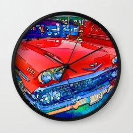 Red retro car headlight Wall Clock