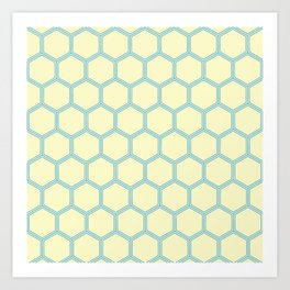 Bright Yellow Blue  Geometrical Pattern Design Art Print