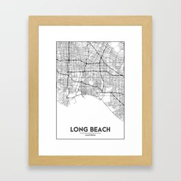 Minimal City Maps - Map Of Long Beach, California, United States Framed Art Print