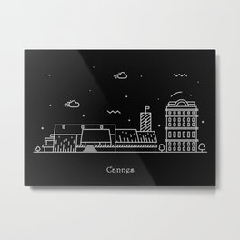 Cannes Minimal Skyline Drawing Metal Print