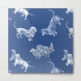 Classic Blue Dachshund Dogs Metal Print