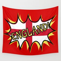 england Wall Tapestries featuring Flag of England POW star by mailboxdisco
