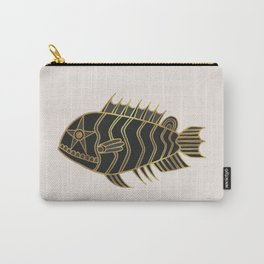 Fantastical Fish 1 - Black and Gold Carry-All Pouch
