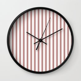 Vintage New England Shaker Barn Red Milk Paint Mattress Ticking Vertical Wide Striped Wall Clock