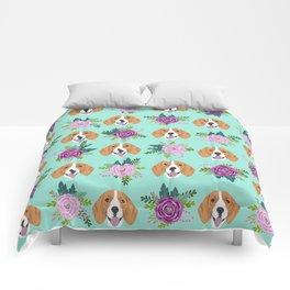 Beagles pattern floral dog breed beagle art pet portrait pet friendly dog art Comforters