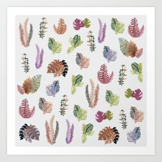 tropical leaves color Art Print