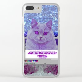 Cat Questioning Life and Reality Clear iPhone Case