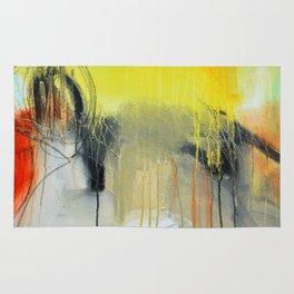 Gold Yellow Abstract Print  Rug