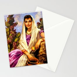 Jesus Helguera Painting of a Calendar Girl with Cream Shawl Stationery Cards