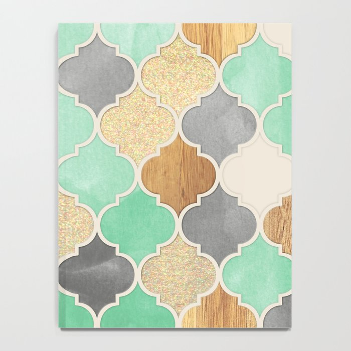 Charcoal, Mint, Wood & Gold Moroccan Pattern Notebook