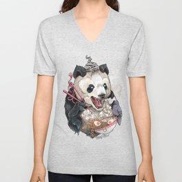 Panda Eating Ramen In A Tin Foil hat Unisex V-Neck