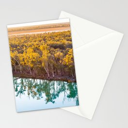 Mallee eucalyptuses reflecting in calm water of Murray River at sunset. Riverland, South Australia Stationery Cards