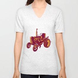 Vintage Farm Tractor Woodcut Unisex V-Neck