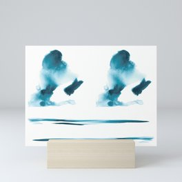 Abstract blue ink stain composition Mini Art Print