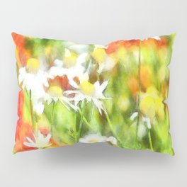 The Colors Of Spring On A Sunny Day Watercolor Pillow Sham
