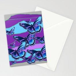 MODERN INDIGO BLUE BUTTERFLIES & PURPLE  HORIZON LANDSCAPE Stationery Cards