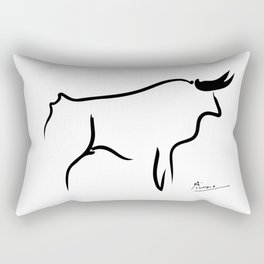 Pablo Picasso Bull 1952 Artwork, Animals Line Sketch, Prints, Posters, Bags, Tshirts, Men, Women, Kids Rectangular Pillow