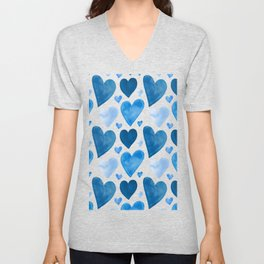 Blue Hearts Watercolor Unisex V-Neck
