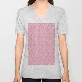 Postmodern Squiggles in Pink + Mint Unisex V-Neck