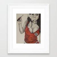 dbz Framed Art Prints featuring DBZ Vapor GIrl by SloppyArtist