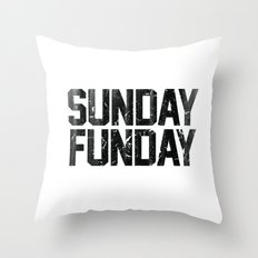 Sunday Funday Dirty Vintage Varsity Typography Print Throw Pillow