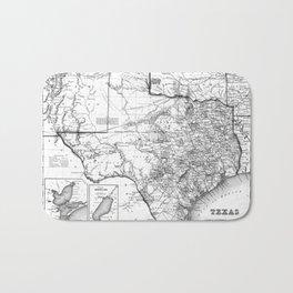 Vintage Map of Texas (1856) BW Bath Mat
