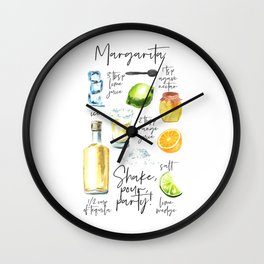 Margarita Recipe Watercolor Illustration Wall Clock