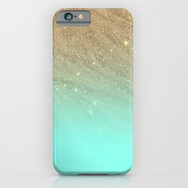 Elegant gold faux glitter chic teal gradient  trendy pattern iPhone Case