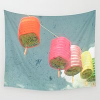 lanterns Wall Tapestries featuring Lanterns by Cassia Beck