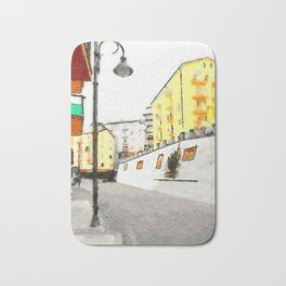 Glimpse with buildings and street lamp Bath Mat