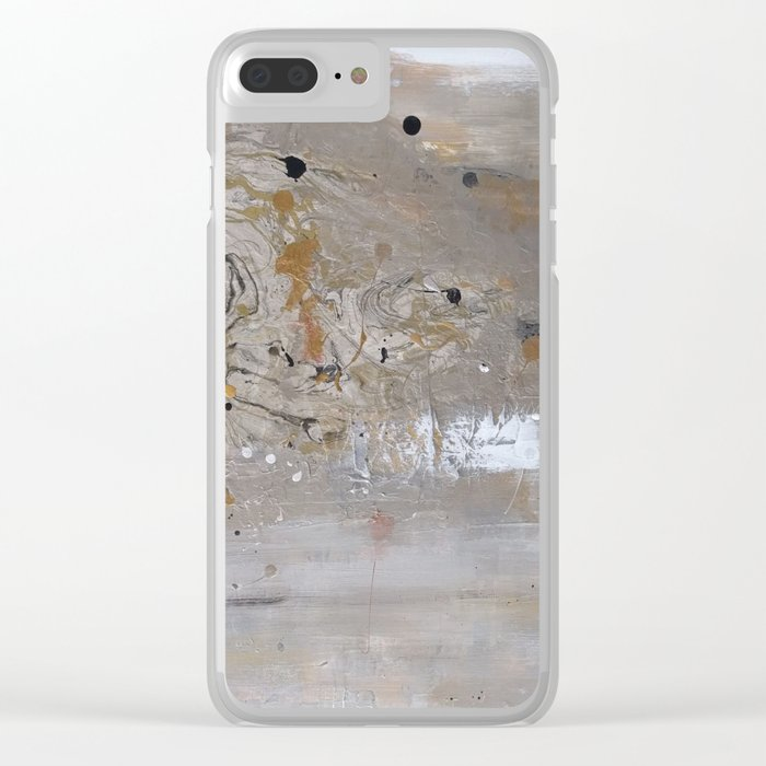 Silver and Gold Abstract Clear iPhone Case