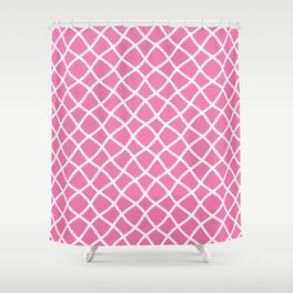 Candy pink and white curved grid pattern Shower Curtain
